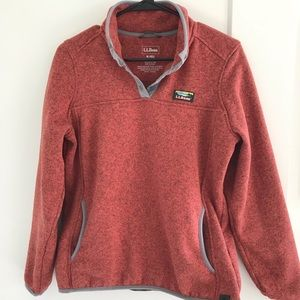LLBean salmon/ grey fleece sweatshirt ✨